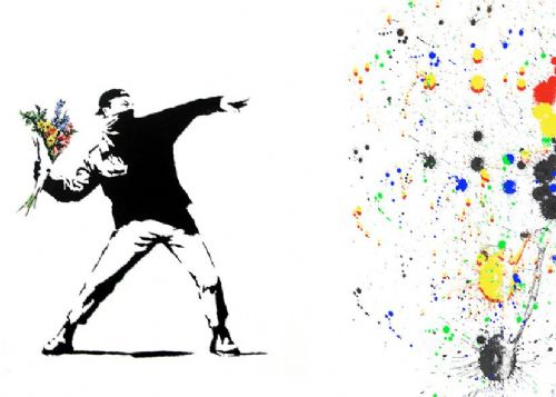 BANKSY - FLOWER THROWER - Paint splat canvas print - self adhesive poster - photo print